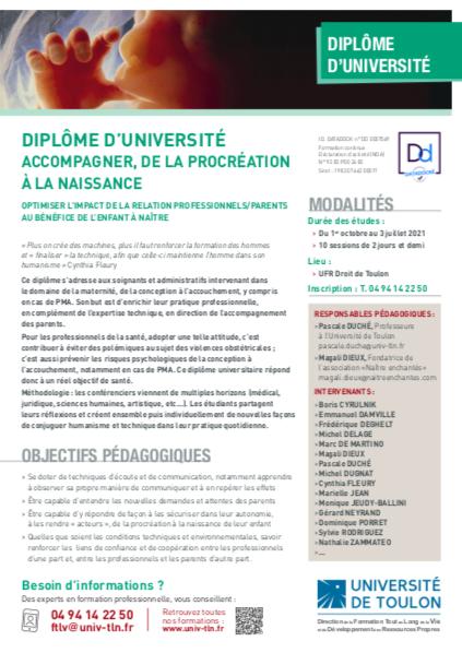 Formation Universitaire avec la présentation du programme