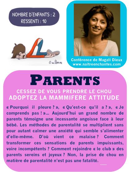 """image de Magali Dieux avec un texte dont le titre est """"Parents, cessez de vous prendre le chou, adoptez la mammifère attitude"""